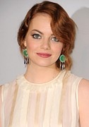 Drop Earrings Metal Prints - Emma Stone Wearing Irene Neuwirth Metal Print by Everett