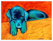 Cute Dogs Pastels - Emma Wants the Toy by Sue Gardner