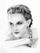 Charcoal Portrait Posters - Emma Watson Poster by Rosalinda Markle
