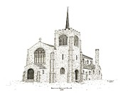 Old Church Drawings Posters - Emmanuel Episcopal Church Poster by Sandra Norris