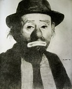 Kelly Drawings Posters - Emmett Kelly Jr Poster by Glenn Daniels