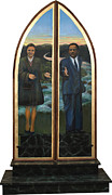 Civil Rights Originals - Emmett Till Memorial Triptych Doors Closed by Art Nomad Sandra  Hansen