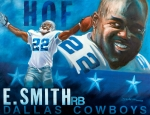 Running Back Painting Framed Prints - Emmit Smith HOF Framed Print by Jim Wetherington