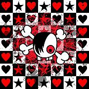 Abstract Hearts Digital Art - Emo Boy Skull by Roseanne Jones