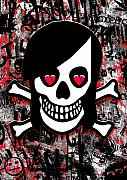 Girly Skull Posters - Emo Heart Breaker Poster by Roseanne Jones