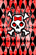 Girly Skull Posters - Emo Skull 4 of 6 Poster by Roseanne Jones