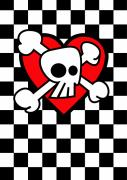 Emo Prints - Emo Skull Checker Heart Print by Roseanne Jones