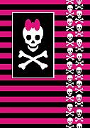Emo Skull Prints - Emo Skull Princess Print by Roseanne Jones