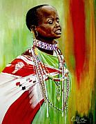 Maasai Painting Originals - Emotion by G Cuffia