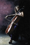 Blue Dress Paintings - Emotional Cellist by Richard Young