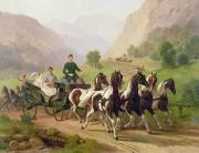 Cart Driving Posters - Emperor Franz Joseph I of Austria being driven in his carriage with his wife Elizabeth of Bavaria I Poster by Austrian School