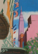 New York City Pastels Prints - Empire in the Sky Print by Marion Derrett