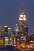 Sky - Empire State and Chrysler Buildings at Twilight by Clarence Holmes