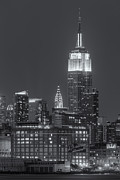 Illuminated Art - Empire State and Chrysler Buildings at Twilight II by Clarence Holmes