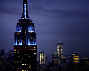 New York City Skyline Photos - Empire State Blue by Vicki Jauron