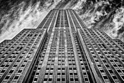 Wide Angle Framed Prints - Empire State Building Black and White Framed Print by John Farnan