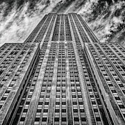 Ultra Wide Angle Lens Posters - Empire State Building Black and White Square Format Poster by John Farnan