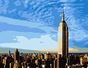 Empire State Building Digital Art Metal Prints - Empire State Building Color 16 Metal Print by Scott Kelley