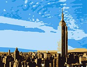 Empire State Building Digital Art Metal Prints - Empire State Building Color 6 Metal Print by Scott Kelley
