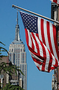 Nyc Digital Art Metal Prints - Empire State Building Flag Metal Print by AdSpice Studios