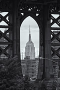 Manhattan Bridge Photos - Empire State Building Framed by Clarence Holmes