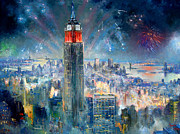 Fourth Of July Painting Framed Prints - Empire State Building in 4th of July Framed Print by Ylli Haruni