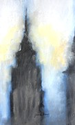 Haze Drawings Prints - Empire State Building in pastels Print by Janel Bragg