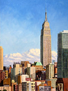 Landscapes Painting Framed Prints - Empire State Building Framed Print by Joe Bergholm