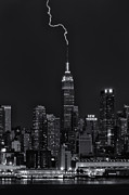 Landscapes Photo Prints - Empire State Building Lightning Strike II Print by Clarence Holmes