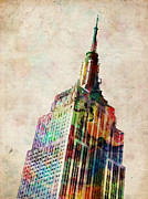 Urban Watercolor Digital Art Metal Prints - Empire State Building Metal Print by Michael Tompsett