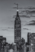 Blue And White Prints - Empire State Building Morning Twilight IV Print by Clarence Holmes