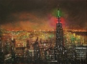 Night Scenes Paintings - Empire State Building by Tom Shropshire