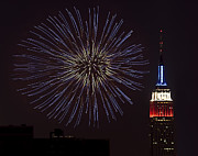 Fourth Of July Framed Prints - Empire State Fireworks Framed Print by Susan Candelario
