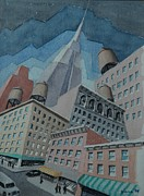Streetscape Paintings - Empire State by Lester Glass