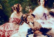 1855 Framed Prints - Empress Eugenie and her Ladies in Waiting Framed Print by Franz Xaver Winterhalter