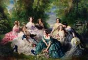 Yellow On Blue Framed Prints - Empress Eugenie Surrounded by her Ladies in Waiting Framed Print by Franz Xaver Winterhalter