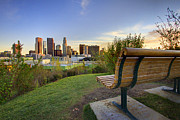 Los Angeles Skyline Framed Prints - Empty Bench Framed Print by Kenny Hung Photography