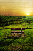 Empty Bench Posters - Empty Bench with a View in the Countryside at Sunset Poster by Jill Battaglia