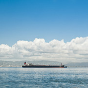 Seagoing Prints - Empty Cargo Ship on the Water Print by Eddy Joaquim