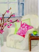 Cherry Blossoms Painting Originals - Empty Chair Series 2 by Melody Allen