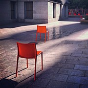 Best Sellers - Featured Art - Empty Chairs At Mint Plaza by Julie Gebhardt