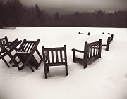 Empty Chairs Posters - Empty Chairs in the Snow Poster by Ray Rothaug