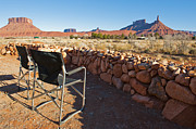 Scrub Brush Prints - Empty Chairs Looking Across the Desert Print by Thom Gourley/Flatbread Images, LLC