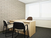 Empty Chairs Prints - Empty Desk in an Office Print by Skip Nall