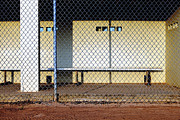 Chain Link Framed Prints - Empty Dugout Framed Print by Skip Nall