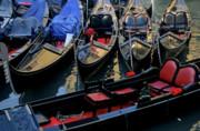 Empty Gondolas Floating On Narrow Canal In Venice Print by Sami Sarkis