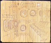 Games Mixed Media Prints - Empty Laundromat Print by Radical Reconstruction Fine Art Featuring Nancy Wood