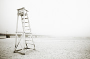Gloomy Framed Prints - Empty Life Guard Tower 1 Framed Print by Skip Nall