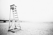 Gloomy Framed Prints - Empty Life Guard Tower 2 Framed Print by Skip Nall