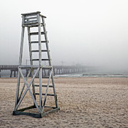 Foggy Day Prints - Empty Lifeguard Chair Print by Skip Nall